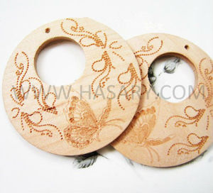 Butterfly Carved Wooden Charm - Laser Etched Wood Earrings