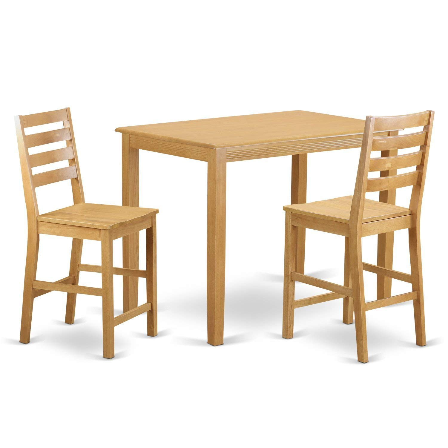 East West Furniture YACF3-OAK-W 3 Piece Counter Height Table and 2 Dining Chair Set