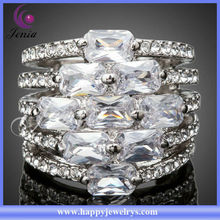 New Fashionable Design 18k White Gold Plated With Austrian Crystal Wholesale rings Jewelry(PR005)