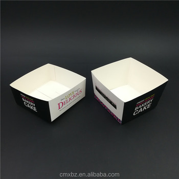 Class black 10cm square food grade disposable box paper cake packaging