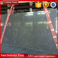 Prefab deep grey color composite crystal quartz stone slab for countertop