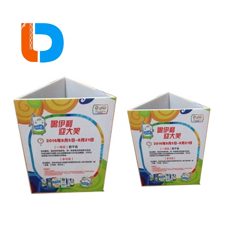 China Manufacturer Custom Advertising Paper Triangle Standee Display Cardboard