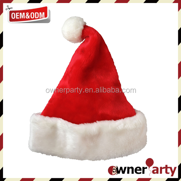 New Design Custom funny Unique Plush Christmas Embroidery Good Quality Santa Hat