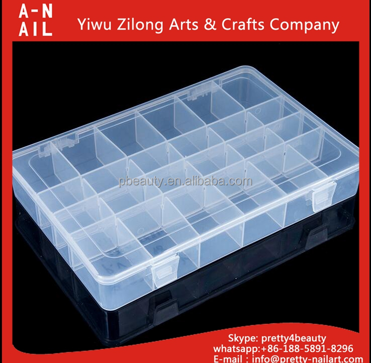 Big size high quality 24 slot Plastic Adjustable Storage Box for Electronic Components large acrylic cases home storage box
