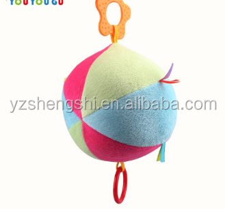 OEM ODM free sample factory 0-1 years soft plush baby educational ball toy for baby play/colorful promotional plush rattle ball