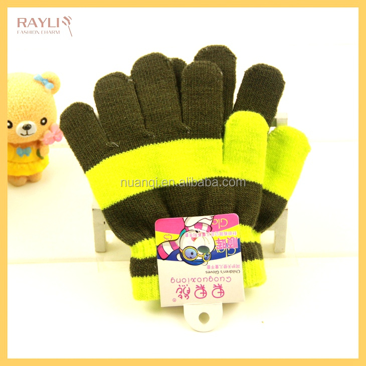 2016 New 6 Colors Winter Warm Acrylic Knit Boys and Gilrs Mitten Striped Kids Hand Gloves