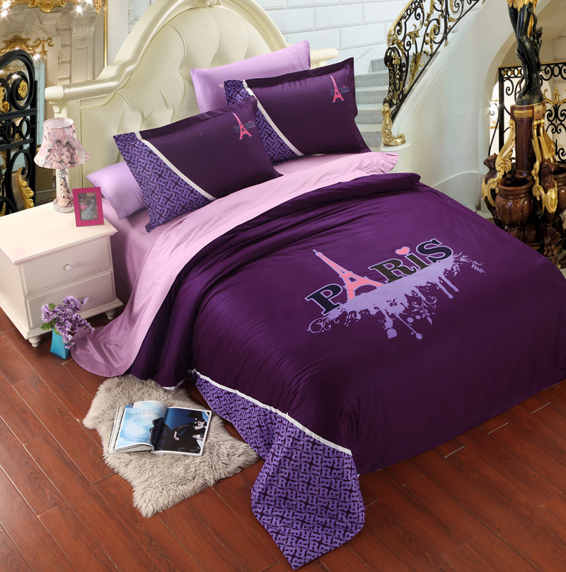 violet rose paris tour eiffel ensemble de literie roi queen housse de couette couvre lit drap de. Black Bedroom Furniture Sets. Home Design Ideas