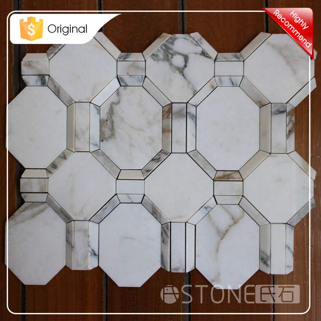 Top Quality Calacatta Gold 3D Octagon Marble Stone Mosaic Tile