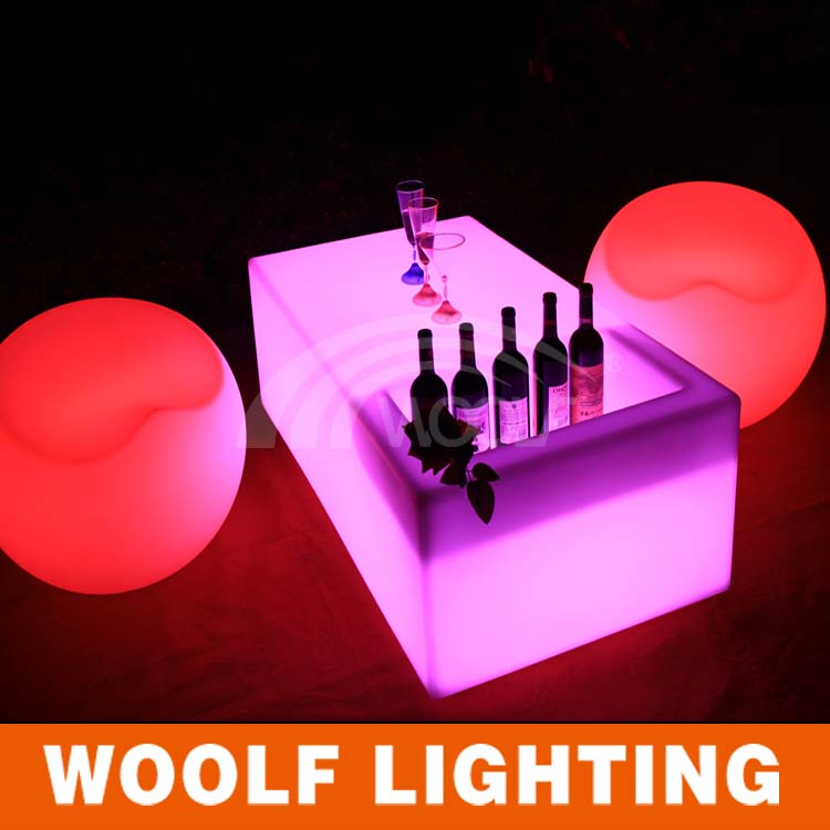 Best decoration illuminated color LED rectangle table with cooler custom ice cooler