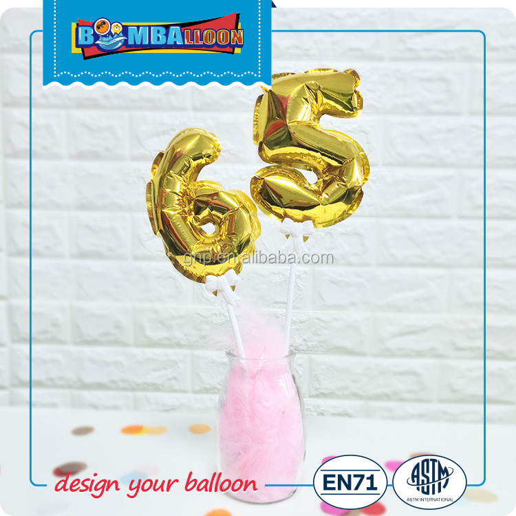 Solid color self-inflating foil balloon for birthday 0-9 number