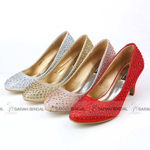 Get Quotations Fashionable Shining Paillette Red Silver Wedding Shoes Luxury Round Toe Women Pumps Bridal 2015