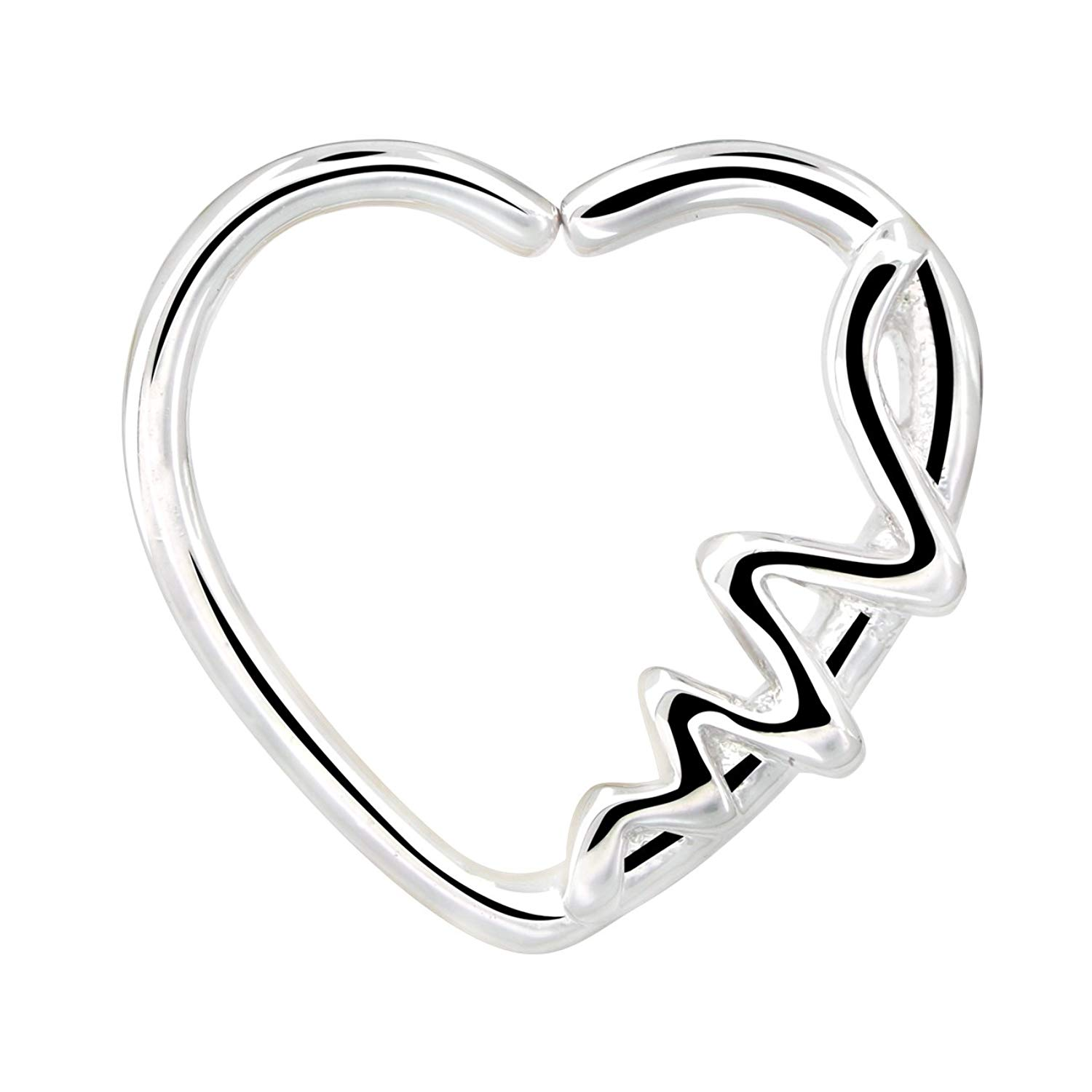 Get Quotations Oufer Body Piercing Jewelry Heart Shaped Waves Left Closure Daith Cartilag Tragus Helix Earring 16gauge