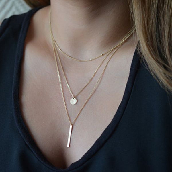Bar Pendant Ball Chain Layer Necklace,Rolled Gold Jewelry,Choker Necklace