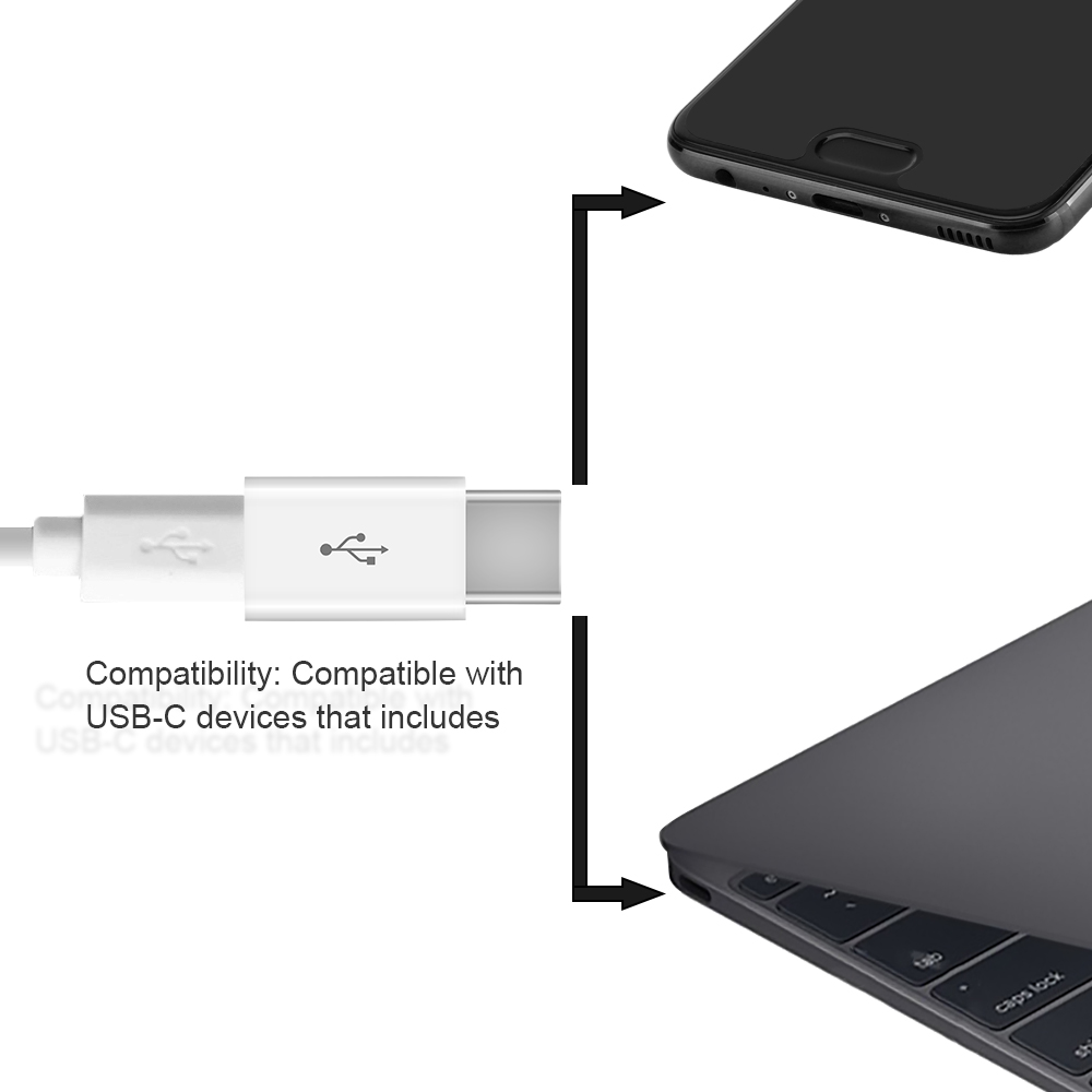 Feisman USB-C TYPE C 3.1 To Usb Mikro Perempuan Adapter Adaptor untuk MacBook Samsung Note 8 S8 S9 USB-C Converter adaptor 2 Pack