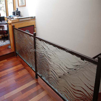 Special patterned tempered fused glass stair railing