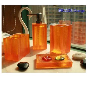 High Quality Custom 26 Years China Manufacture Supply Modern Ostar Resin Orange  Transparent Bathroom Ware Sets