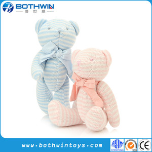 High Quality Comfort Wool Material Knit Pink Teddy Bear