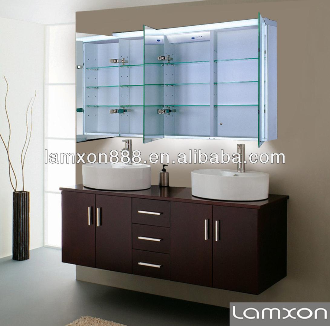 Muebles de ba o armario con espejo con luz led tocadores for Espejos de bano con led