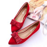 SP2515A Red Bridal Shoes Flat Heel Bowknot Big Size Women Flat Shoes