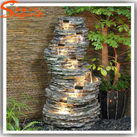 Factory price resin water fountains fake stone walls garden small waterfall fountains indoor
