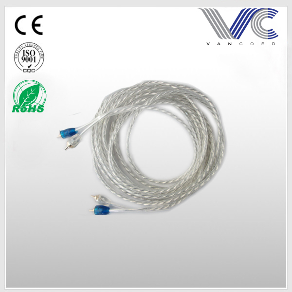 FrankEver Car Audio Cable Transparent 5mm PVC 2R To 2R RCA Cable.jpg