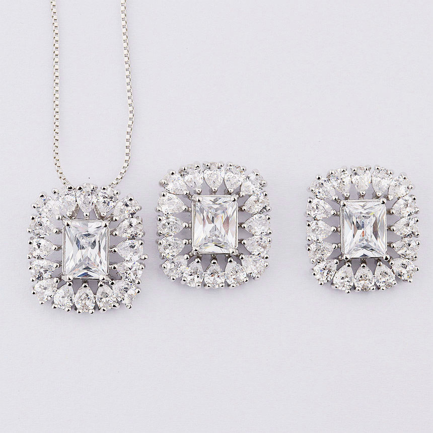 rhodium plated american diamond jewellery sets for women