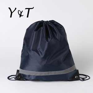 Most popular 201D polyester navy blue padded drawstring bag