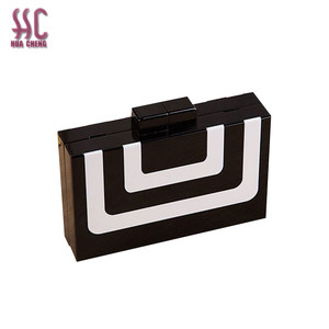 High quality handmade joint acrylic clutch bag & contrast color acrylic lady handbag