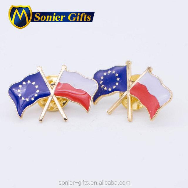 Pin Making Supplies Hot Sales Gold Texas Flag Lapel Pin Badge