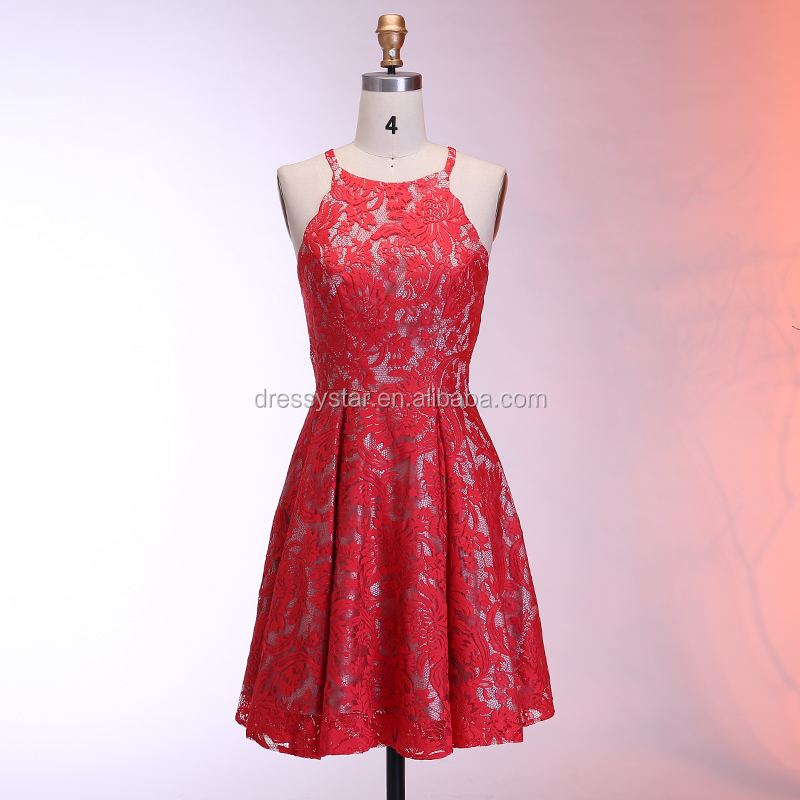 Dressystar 2018 corto rojo tirantes de encaje rojo vestido de noche ...