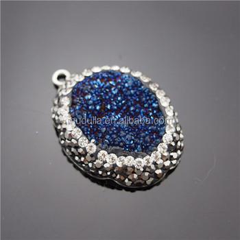 Dp168 blue titanium druzy pendant quartz oval pendant druzy oval dp168 blue titanium druzy pendant quartz oval pendant druzy oval titanium druzy aloadofball Images