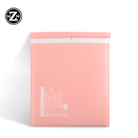 custom printed logo printed eco friendly pink poly bubble mailer 5 envelopes packing bag for shipping protective