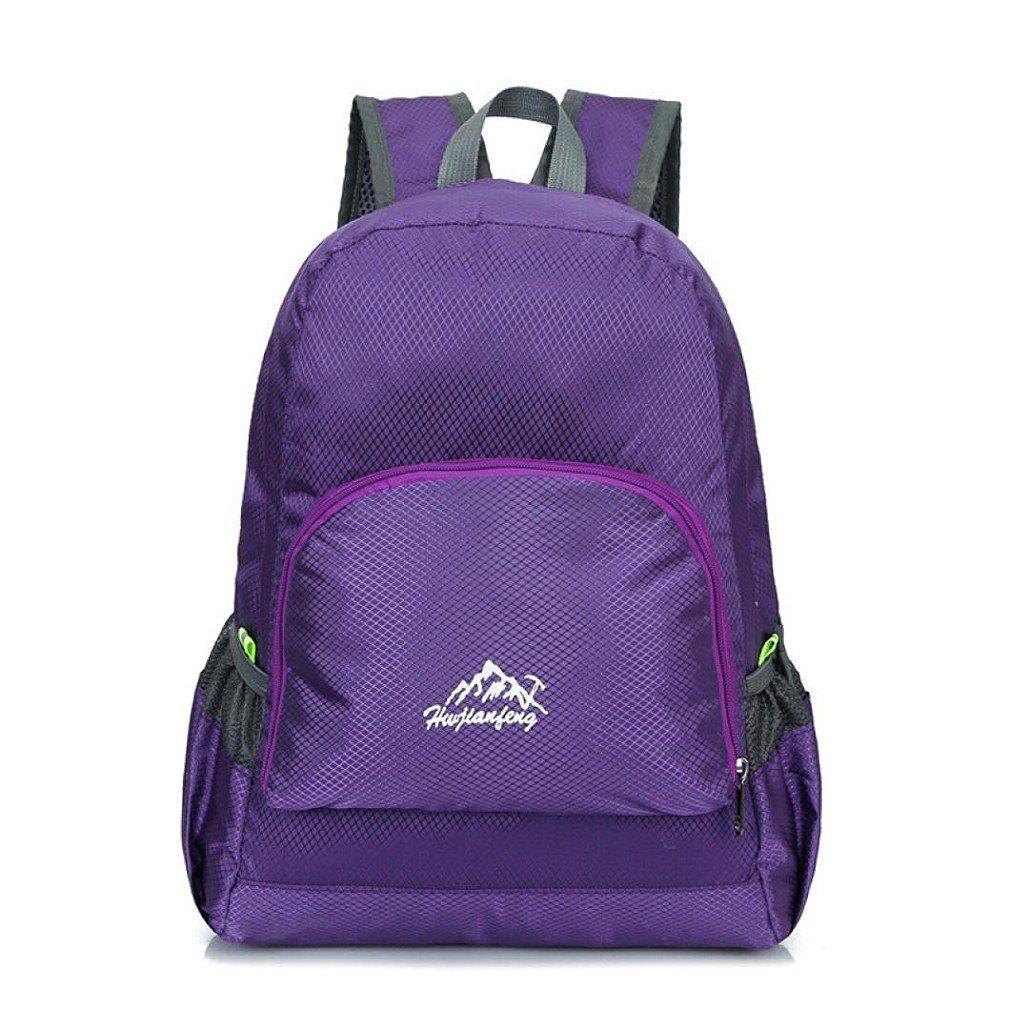 Morecome Outdoor Waterproof Bionic Camouflage Pattern Folding Backpack Package Bag Camo (Purple)