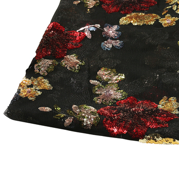 Wholesale Hot Sale Fashion Embroidered Black Mesh Vintage Sequins Fabric for Women