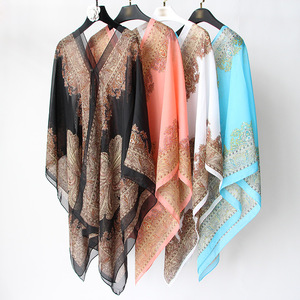 Wholesale fashion summer poncho beach wear cover up, lady multifunctional beach pareo sarong with 15 colors
