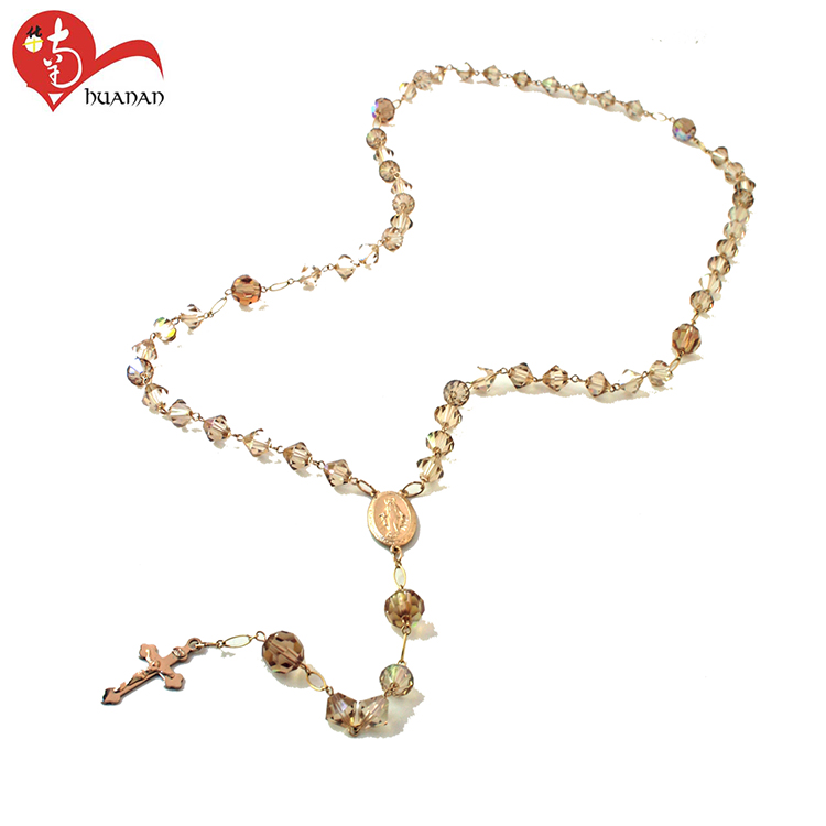 Huanan wholesale 6mm color of gold crystal rosary necklace and chain spool