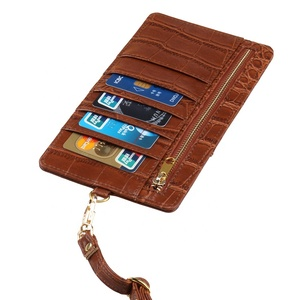 Phone WALLET POUCH EMBOSSED CROCODILE PATTERN LEATHER WITH LANYARD CUSTOM IC CARDS HOLDER PHONE HOLDER