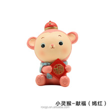 Roogo resin china new year cartoon funny light red lucky baby monkey figures for kids toy