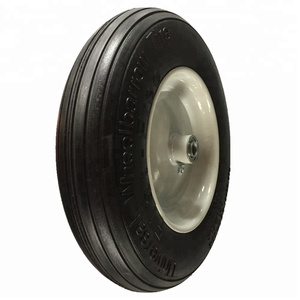 Ribbon pattern flat free solid tire with white sprayed rim tyre universal wheel 4.80/4.00-8