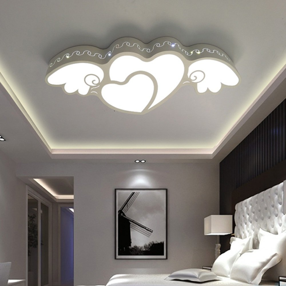 DIDIDD Ceiling light- creative heart-shaped princess room led dimming iron ceiling lights bedroom warm and lovely children living room ceiling lights (light color optional) --home warm ceiling lamp