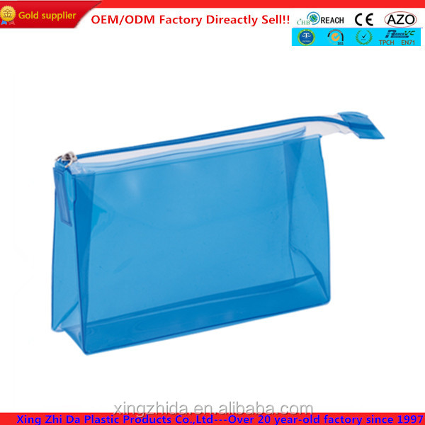 Heat sealing blue clear cosmetic bag with zipper