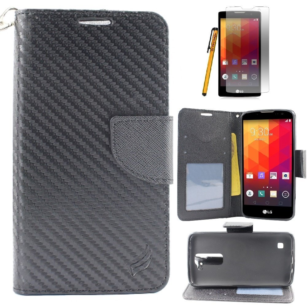 LG K7 Case, M1 Case, LG Tribute 5 Case, Wallet Pouch Case, The3Knights[TM]-Two Tone PU Leather Bling Flip Wallet Credit Card Case + Stylus+Premium Screen Protector (A+ Carbon Fiber)