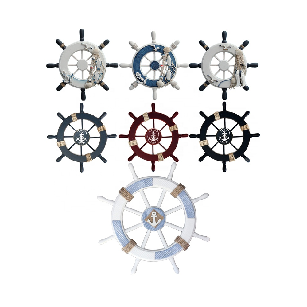 33 x 33cm Nautical Wooden Ships Wheel Mirror Decorative Seaside Home Chic Decor