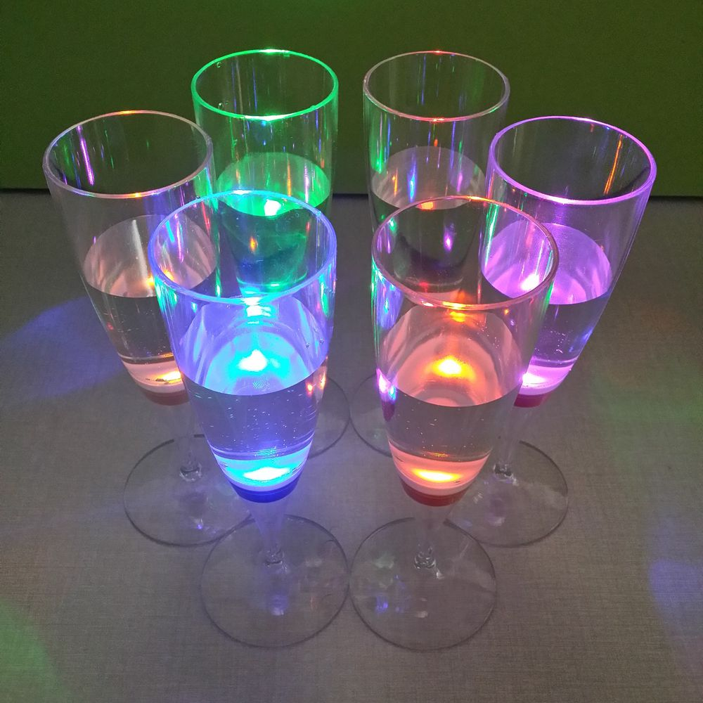 Wholesale FDA RoHS colorful plastic LED champagne cup