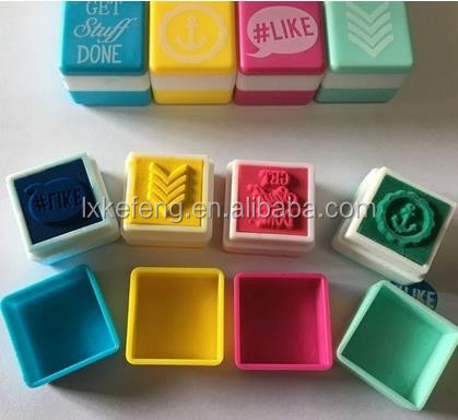 colorful ink common seal concrete brick stamp