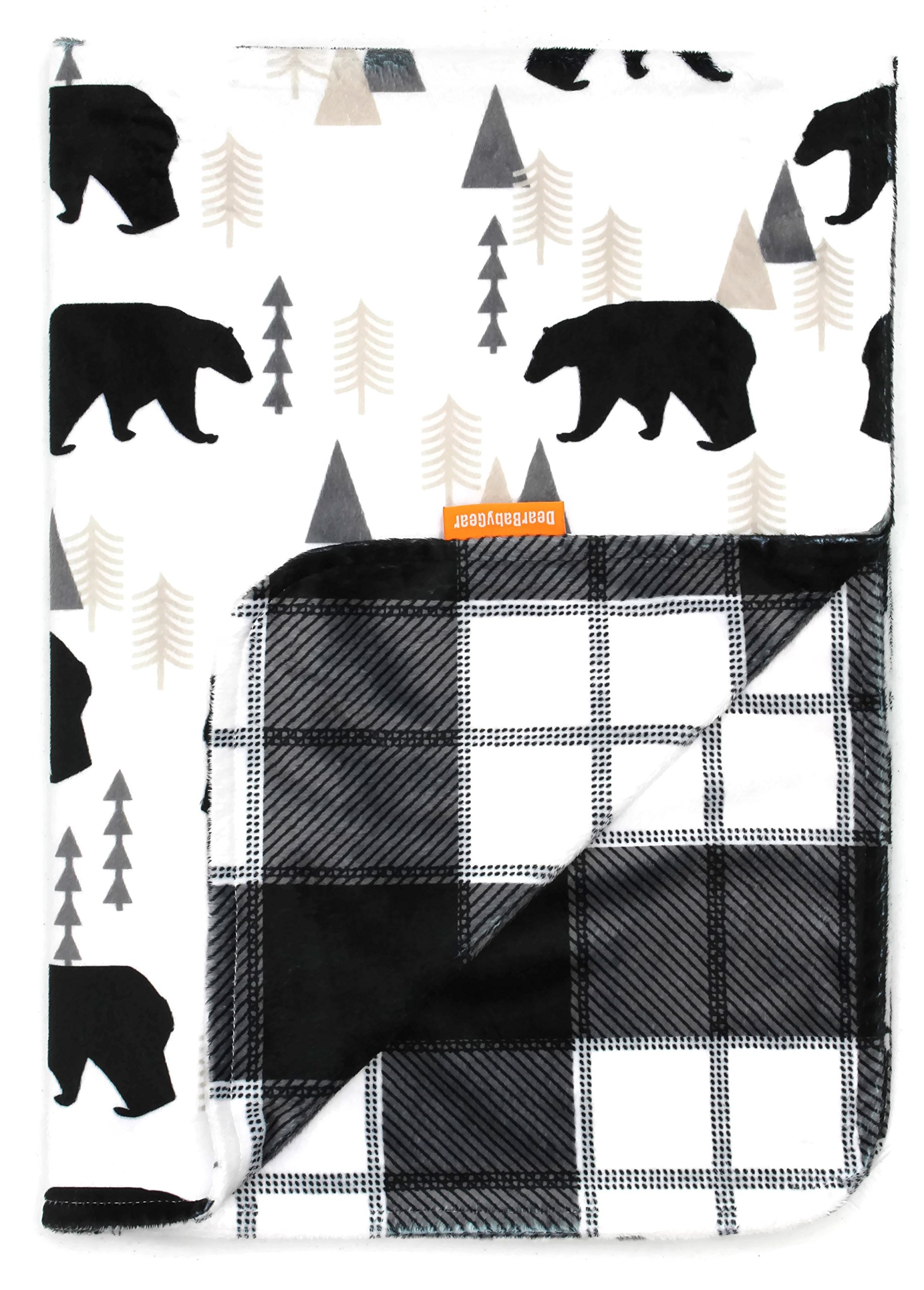 Minky Grey Woodland Bear Moose Plaid Dear Baby Gear Baby Blankets No Ruffle