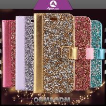 Diamond Real Leather Wallet Card Holder Flip Case Cover Bling Crystal Leather Cell Case For Girls