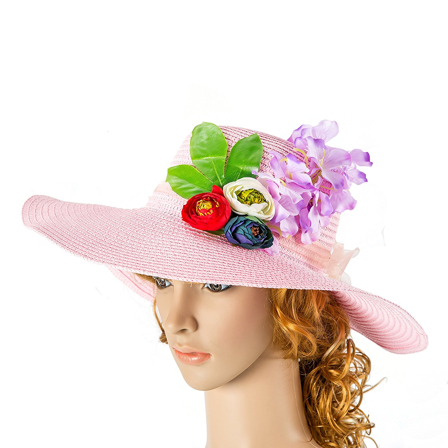 7e5a45a3494bb Get Quotations · Women Hat powder pink Hat with Real Touch Flowers rose  Kentucky Derby Hat Party Summer Hat