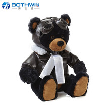 Customized Adorable Plush Aviator Teddy Bear with Leather Jacket