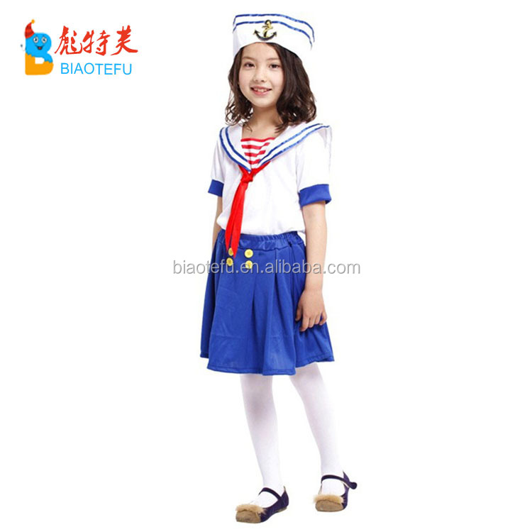 Hot sale quality carnival party girl sailor cosplay fancy dress costumes for kids in stock